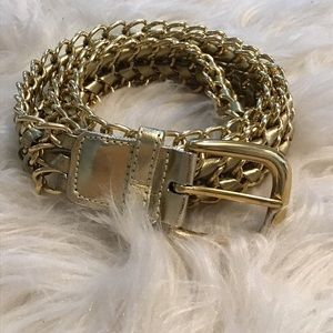 Vintage 90s Gold chain and Leather belt